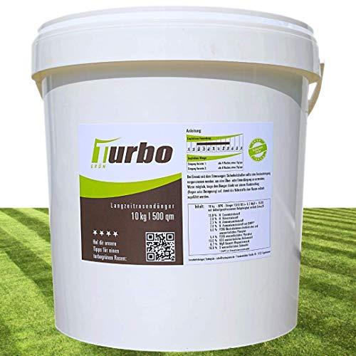 Turbogrün Langzeit Rasendünger Frühjahr 10kg mit 3 Monate Langzeit-Wirkung, Dünger gegen Moos, Ideal für Frühjahr und Sommer, geeignet für Streuwagen, staubarmes Granulat, Rasen dünger