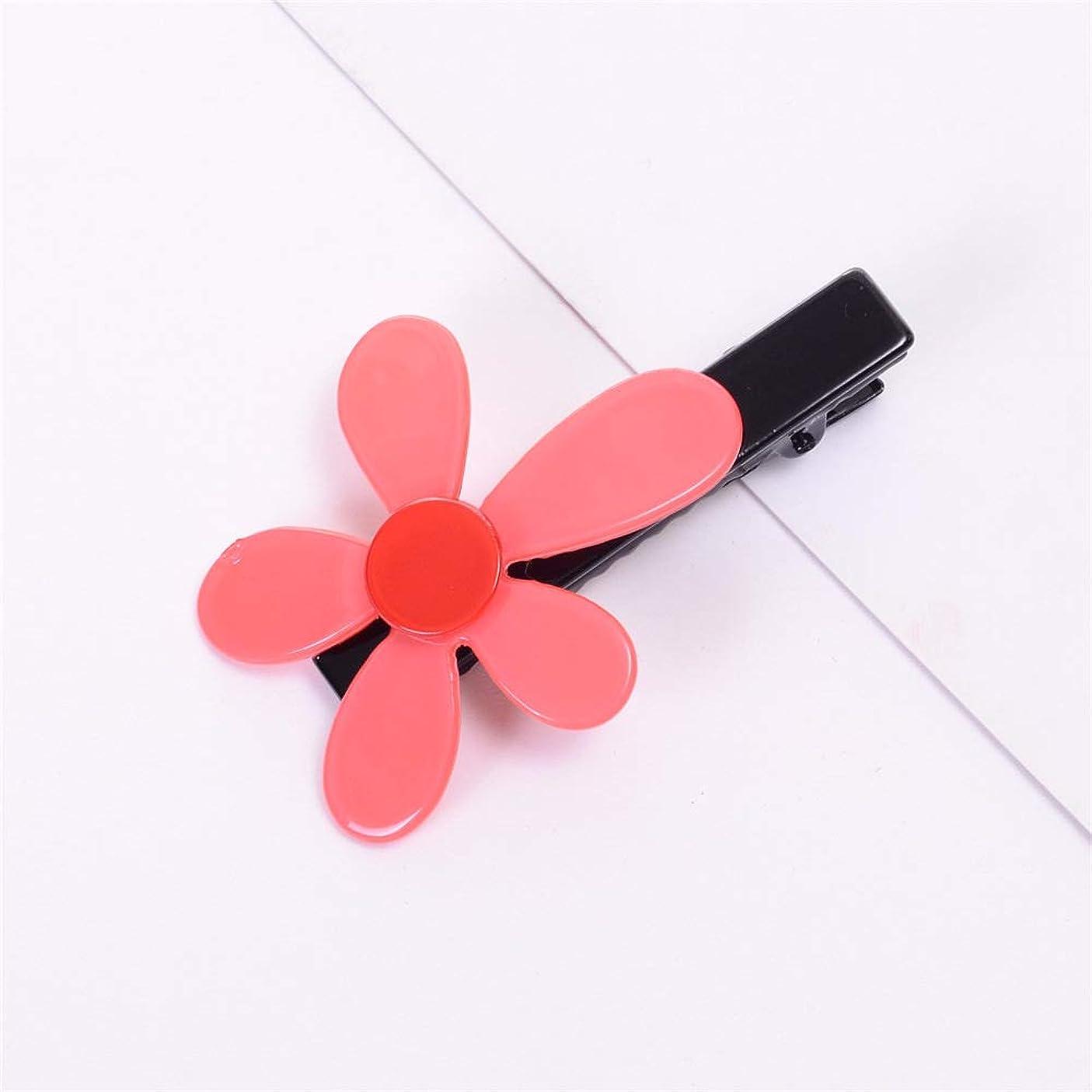 中性安らぎ強調するHuaQingPiJu-JP 1Pcシンプルなエレガントなフラワーヘアクリップファッションアクセサリー(ピンク)