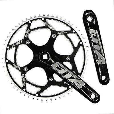 CYSKY Single Speed Crankset Set 60T 170mm Crankarms 130 BCD Fixie Crankset for Single Speed Bike, Fixed Gear Bicycle, Track Road Bike (Square Taper, Black)