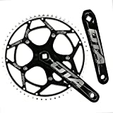 CYSKY Single Speed Crankset Set 60T 170mm Crankarms 130 BCD Fixie Crankset for Single Speed Bike, Fixed Gear Bicycle, Track Road Bike (Square Taper, Black)