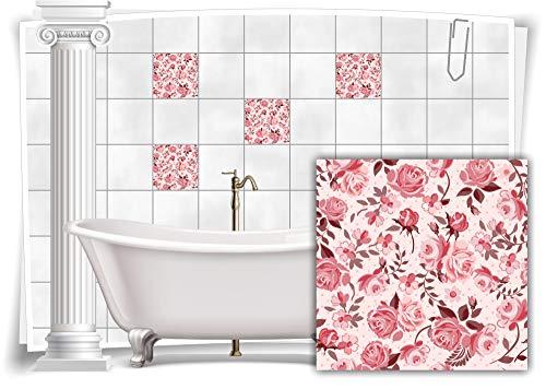 Medianlux Fliesen-Aufkleber Fliesen-Bild Kachel Rosen Blumen Rot Rosa Sticker Bad WC Deko Küche Digitaldruck Folie, 12 Stück, 10x10cm