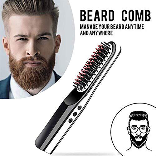 Cepillo De Barba De Iones Negativos Para Hombres, Alisador De Barba, Peine De Alisadores De Cabello Inalámbrico USB, Cepillo De Barba De Cerámica Recargable Rápido