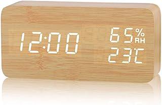 HOTSO Despertadores Digitales LED Control de Voz, Clásicos Reloj Despertador Electrónico Estilo Clásico de Mesillas con Rayado Madera, Bambú para Juveniles (Rectángulo-Original)