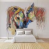 Mural de pared 3D creativo acuarela caballo pareja papel tapiz sala de estar dormitorio Oficina cart Pared Pintado Papel tapiz 3D Decoración dormitorio Fotomural sala sofá pared mural-300cm×210cm