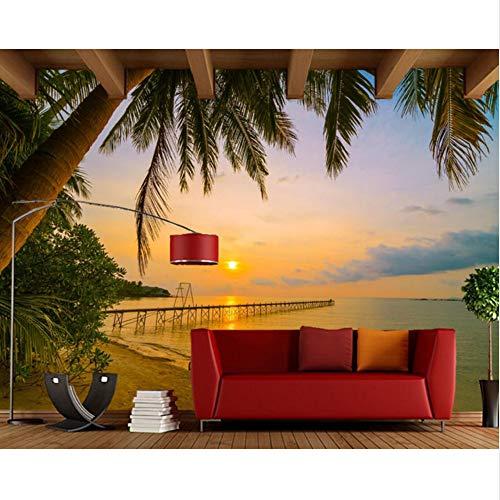 Xbwy 日の出と日の入りCoast Palms Beach Nature 3D壁紙、リビングルームのテレビソファの背景キッチンカスタム壁画-120X100Cm