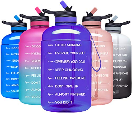 ADOLPH Large Half Gallon Motivational Water Bottle with 2 Lids (Chug and Straw), Leakproof BPA Free Tritan Sports Water Jug with Time Marker to Ensure You Drink Enough Water Throughout The Day-Purple