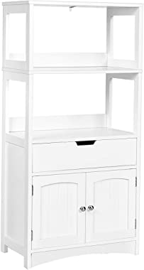 Tangkula Bathroom Storage Cabinet with Drawer and Shelf, Floor Cabinet w/2 Open Shelves and Door Cupboard, Storage Cabinet fo