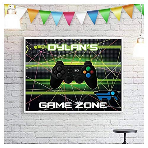 Video Game Banner Laser Gun Party Poster handmade party supplies Personalized Game Truck, Game Controller, Birthday Custom Banner, Video Game Wall Decor; Video Games Party Supplies, Photo Backdrop