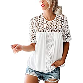 Blooming Jelly Womens Top Lace T Shirt Short Sleeve Crochet Pleated Round Neck Zip Blouse