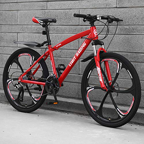 DGAGD 26 inch mountain bike bicycle adult one-wheel variable speed six-wheel bicycle-red_24 speed
