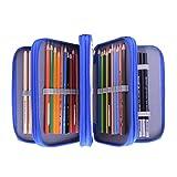 Stiftemappe Oxford Schlampermäppchen Blau Federmappe mit 4 Innentaschen Stiftetasche mit Großer Kapazität Federtasche Stifte Pinsel Bleistifte Aufbewahrungstasche Schüleretui für Kinder Erwachsene