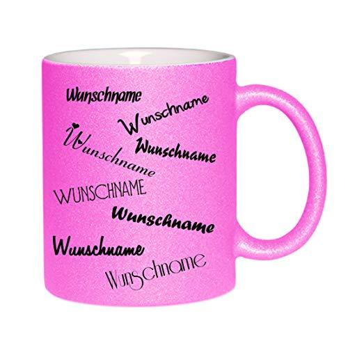 Crealuxe Glitzertasse (Pink) Wunschname - Kaffeetasse, Bedruckte Tasse mit Sprüchen oder Bildern, Bürotasse,