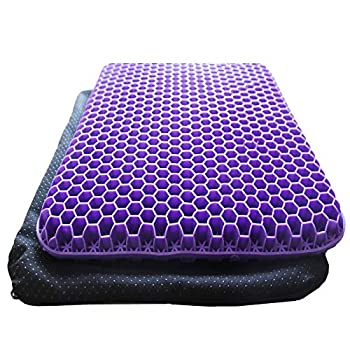 AWCNL Seat Cushion Double Gel Cushion Office Chair Cushions are Breathable Cushion to Relieve Hip Pain and Pressure Gel Cushion  16.5x14.5x1.4inch  Purple