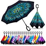 ZOTIA Double Layer Inverted Reverse Umbrella, Winproof Waterproof UV Protection Self Stand Upside Down Car Golf Outdoor Rain Umbrella with C-Shaped Handle-Green Peacock (Z003-Green Peacock)