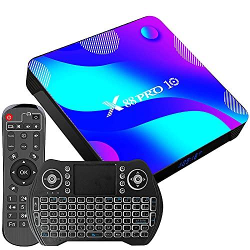 Android TV Box, X10 Android 10.0 TV Box 4GB RAM 64GB ROM RK3318 Soporte De Cuatro Núcleos 4K HDR/WiFi / 2.4Ghz Y 5.8Ghz / BT 4.0 Smart TV Box
