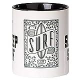 MUGSY.de - Tazza da caffè 'EAT Sleep SURF per surfist' e cavaliere con scritta in lingua inglese 'EAT Sleep SURF', lavabile in lavastoviglie