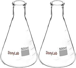 StonyLab 2-Pack Glass 500ml Heavy Wall Narrow Mouth Erlenmeyer Flasks with Heavy Duty Rim - 500ml