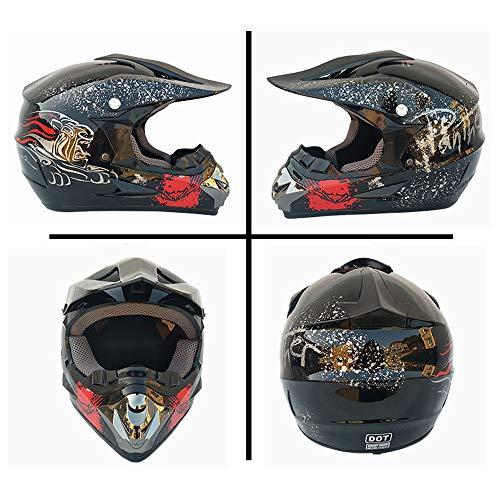 NNFK Motorrad-Crosshelm für Damen, Motocross-Helm-Set (4-teilig) mit Schutzbrillen-Handschuhmaske, Vollgesichts-Mountainbike-Helm Motorrad-Offroad-Sturzhelm,H,L