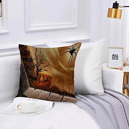 Lilatomer Lot de Housse de Coussin 45x45cm,Décoratif Taie d'oreiller Canapé,Toile d'araignée Halloween Spirit,Chambre Salon BureauTaie d'oreiller