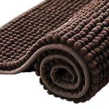 subrtex Bathroom Rugs Chenille Soft Short Plush Bath Mat Non-Slip Water Absorbent Shower Mat Quick Dry Machine Washable(Chocolate,24' x 60')