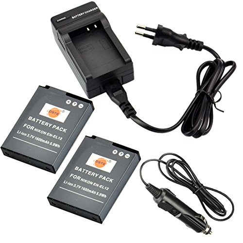 DSTE®(2 Pack)Ersatz Batterie & DC03E Reise Ladegerät Kit für Nikon EN-EL12 Coolpix P300 P310 P330 P340 S31 S70 S610 S620 S630 S640 S800c S1000pj S1100pj S1200pj S6000 S6100 S6150 S6200 S6300