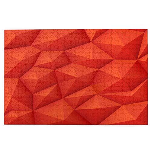 Rompecabezas de 1000 Piezas,Rompecabezas de imágenes,Fondo rojo polígono 3d,textura de origami moderno.Triángulo,Juguetes puzzle for Adultos niños Interesante Juego Juguete Decoración Para El Hogar