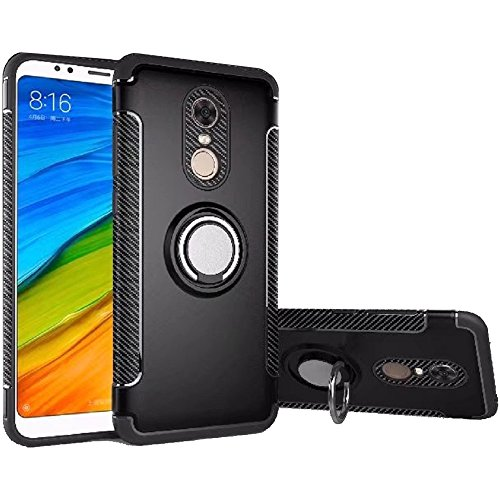 Xiaomi Redmi 5 Plus Case, Ranyi [2 Piece Ring Cover] [Adsorbed Iron Plate] [360 Rotating Metal Ring] Premium Hybrid Dual Layer 360 Full Body Protective 2 in 1 Case for Xiaomi Redmi 5 Plus (Black)