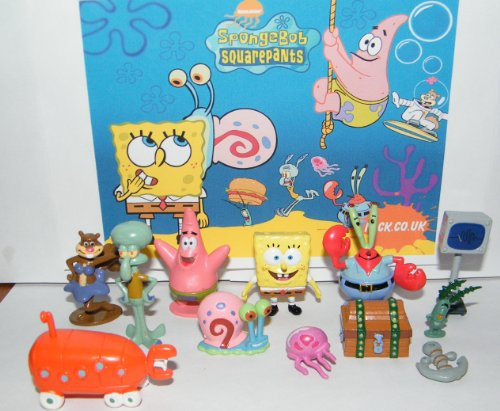 Spongebob and Friends Mini Toy Figure Playset of 12 with Mr. Krabs, Computer Wife Karen, Treasure Chest, Patrick, Jelly Fish, Anchor and Much More!
