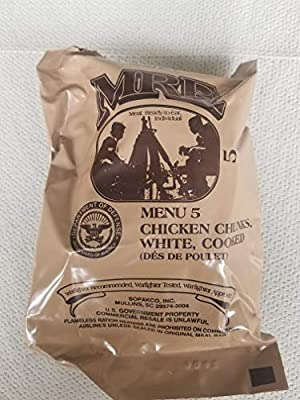 LoJo Surplus 2021 Genuine Military MRE Meals Ready to Eat with Inspection Date 2021 or Newer (Chicken Chunks, White, Cooked)