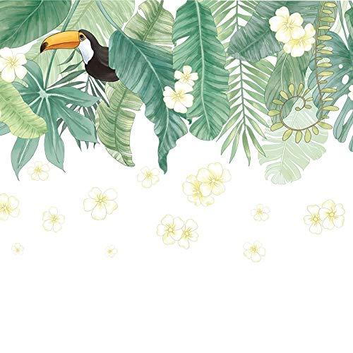 Pegatina pared/cristal hojas y tucan para salones terrazas dormitorios, armarios, cabeceros, tiendas caravanas regalos 1.15 x 73 cm de CHIPYHOME