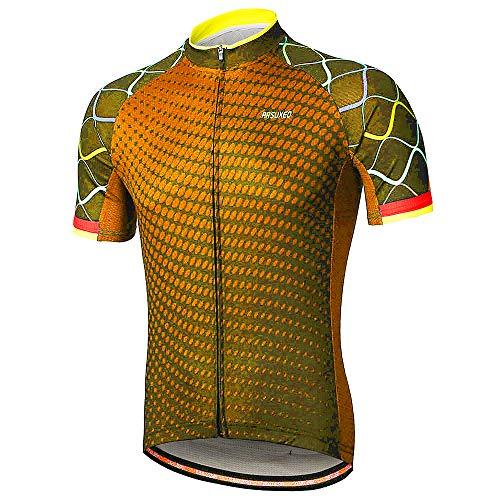 ArsuXEO - Maglia da ciclismo da uomo, per mountain bike, maniche corte, riflettente, asciugatura rapida, protezione solare, traspirante, arancione