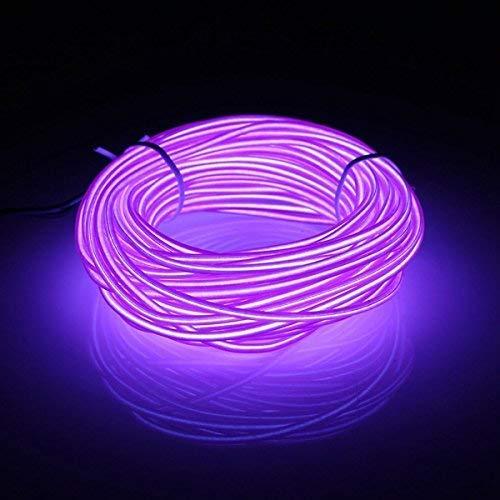 Kmruazre Tubo luminoso neon flessibile, 3 modalità luce Batterie, per Natale, casa, esterni, club, bicicletta, lungo 16ft/5m(Viola)