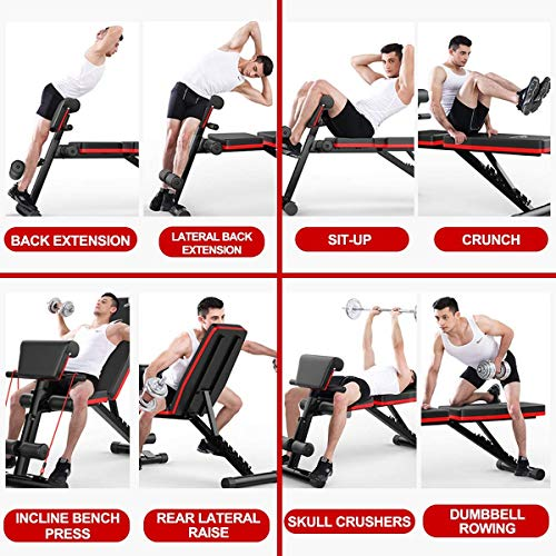 Home Gym Adjustable Weight Workout Bench, Abdominal Training Wokout Bench, Sit Up Incline Curved Bench, Flat Fly Weight Press Fitness (Standard)