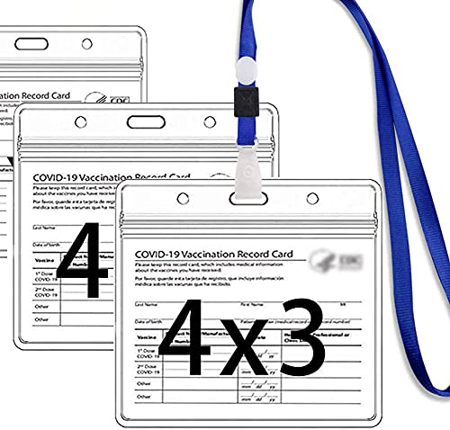 """SOOKYO 3Pack CDC Vaccination Card Protector 4X3"""" Immunization Record Vaccine Card Holder Horizontal Badge Clear Vinyl Plastic I'd Name Tags Sleeve Waterproof Type Resealable Zip&Adjustable Lanyard"""