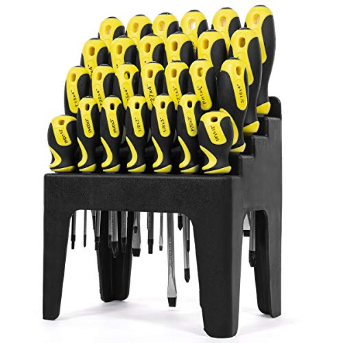 26pc Screwdriver w/Stand Slotted Philips Pozi Star Organizing Set with Rack
