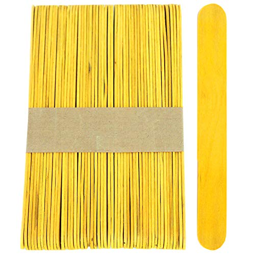 100 Sticks, Jumbo Wood Craft Popsicle Sticks 6 Inch (Yellow)