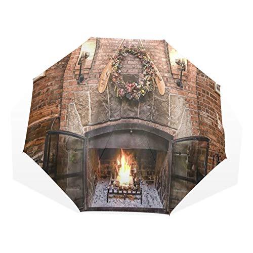 LASINSU Regenschirm,Frohe Weihnacht Winter Jahreszeit Burnning Kamin mit hölzerner Wand des roten Backsteins,Faltbar Kompakt Sonnenschirm UV Schutz Winddicht Regenschirm