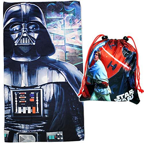 alles-meine.de GmbH 2 TLG. Set _ Badetuch / Strandtuch & Turnbeutel - Star Wars - 70 cm * 140 cm - Frottee / Velours - Handtuch - Jungen - 70x140 für Kinder - Sporttasche - Decke..