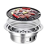 CNCEST Charcoal BBQ Grill,40cm (16 Inch) Round Barbecue Grill Household Smokeless Carbon Grill Charcoal Hot Pot Barbecue Grill Pot Indoor and Outdoor for Camping Party for 1-5 People (40cm (16 Inch))