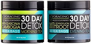 Foraging Detox Tea - 30 Day and Night Teatox - (60 Tea Bags) With Garcinia Cambogia & Dandelion Root For Weight Loss And Relaxing