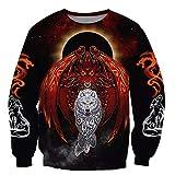 BBYaki Viking Dragon und Wolf Tattoo Herren Hoodie 3D Druck Mit Kapuze Sweatshirt Pullover Herbst Zufällige Lose übergroße Jacke,Sweatshirt,7XL