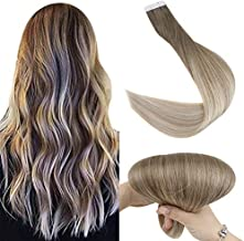 Fshine Ash Blonde Tape In Hair Extensions Human Hair 22 Inch Balayage Color 8 Ash Brown Fading To 60 And 18 Ash Blonde Glue In Real Hair Extensions 50 Gram Tape In Hair Extensions