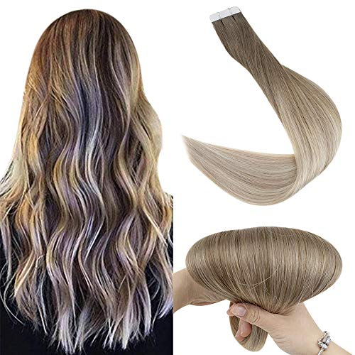 Fshine Double Sided Extension Tape In Remy Hair 20 Inch Human Hair Balayage Color 8 Ash Brown Fading To 60 And 18 Ash Blonde Ombre Tape In Hair Extensions 20 Pcs 50 Gram Thick End