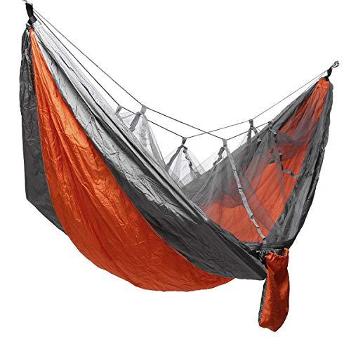 Ai-lir Fácil de Cargar Campamento Ultraligero Hammock Beach Bed Hamaca para la Supervivencia o Viaje de Mosquitos de Mochila, hamacas de Malla de Mosquitos Ligero y Duradero (Color : Orange+Grey)