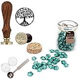 Mogoko Sigillo + Ceralacca in forma di Stella + Cera + Cera Stick Spoon Francobolli Vintage Kit per Lettera Personalizzata Timbri Personali REGALO SET - Azzurro