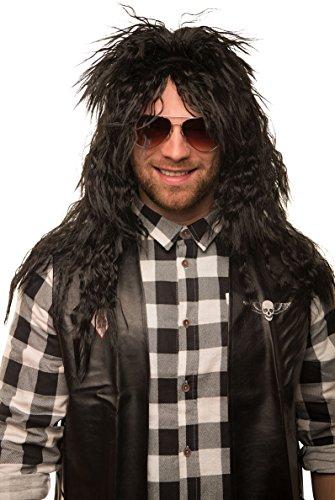 Balinco Rocker Perücke Pop schwarz Herrenperücke Langhaar Lang lockig Heavy Metal Alice Cooper Rambo Metaler 80er