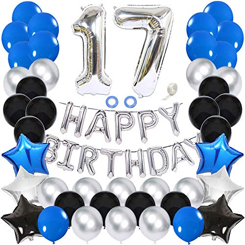 Ceqiny 17th Birthday Decoration Happy Birthday Banner Balloon Set Silver Number 17 Balloons Blue Latex Balloons Blue Black Silver Star Heart Foil Balloon 17 Birthday Party Supplies for Boys Girls