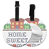 Round Travel Luggage Tags,Colorful Graphic Style Crossstitch Design Needlework Theme Retro Print,Leather Baggage Tag