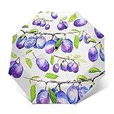 Paraguas Plegable Automático Impermeable Sucursal Aquarelle, Paraguas De Viaje Compacto A Prueba De Viento, Folding Umbrella, Dosel Reforzado, Mango Ergonómico