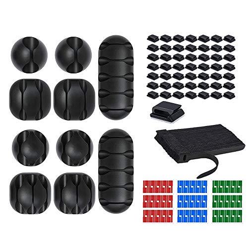 Kit di Organizzatore di Cavi, 10 Clip di Cavi, 50 Nero Fascette per Cavi Riutilizzabili, 50 Clip Cavo Fermacavi Supporto, Sistema di Gestione del Cavo con Adesivo Robusto per Casa Ufficio
